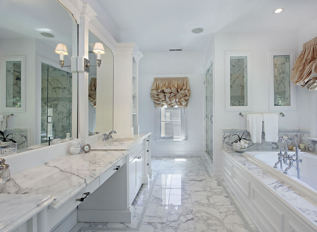 Marble bathroom counter tops -  White Carrera Marble Bathroom Countertop 3
